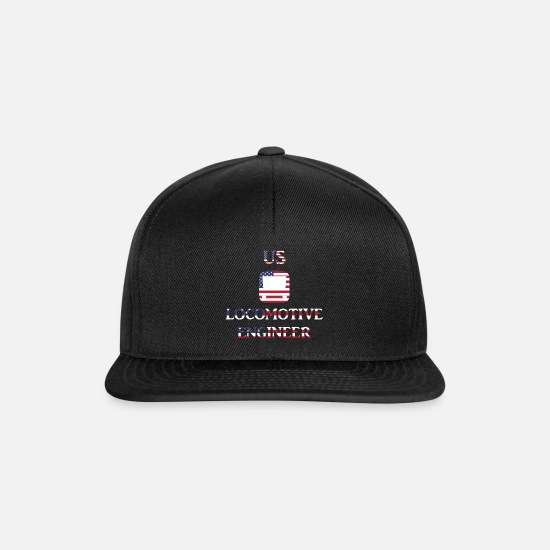Usa Caps & Mützen - US Locomotive engineer in US Flag - Snapback Cap Schwarz/Schwarz