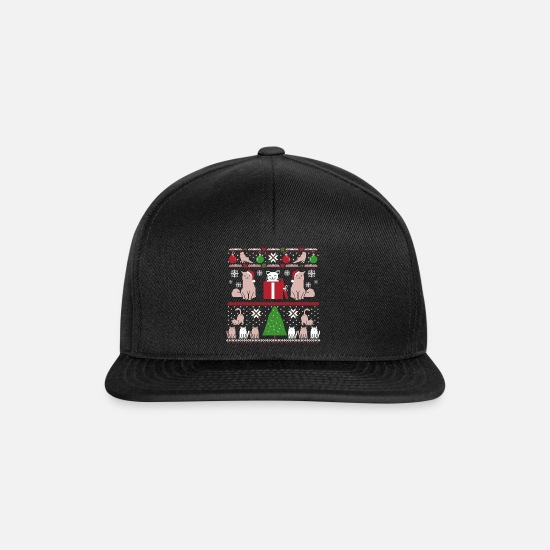 Cool Caps & Hats - Ugly Christmas Ornaments Cats Tree Snowflakes - Snapback Cap black/black
