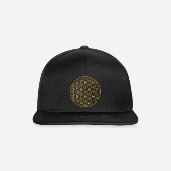 Love Caps & Hats - Flower of life - energy balancing balance - Snapback Cap black/black