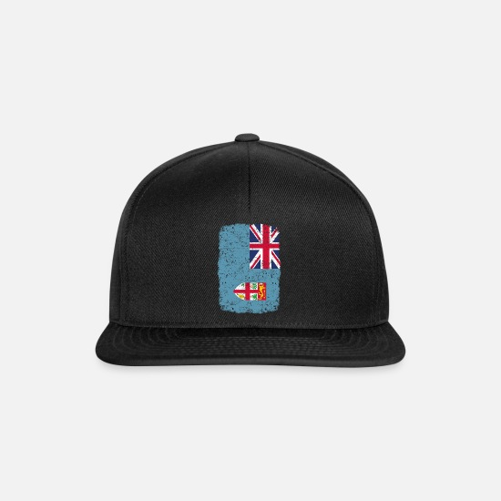 Love Caps & Hats - roots home country roots home Fiji - Snapback Cap black/black
