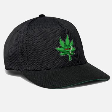 Marie Cannabis Leaf With Red Eyes Smokes Weed - THC CBD - Snapback Cap