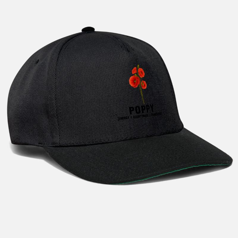Poppy Caps & Hats - Flower: Poppy - Snapback Cap black/black