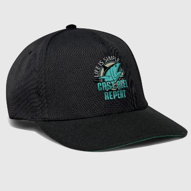 Cebo Life is Simple Cast Reel Repite Pescador Pescado - Gorra Snapback