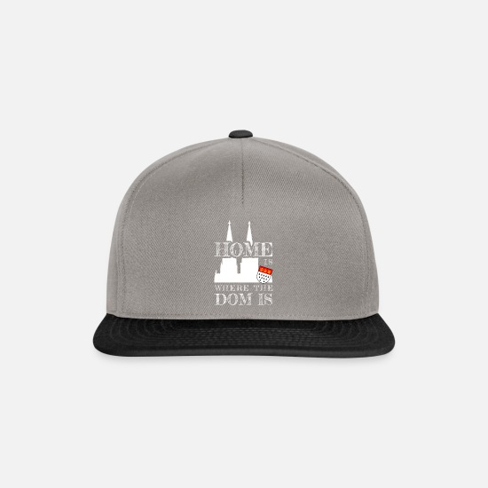 Köln Caps & Mützen - Home Is Where The Dom Is / Kölner Karneval / Köln - Snapback Cap Graphit/Schwarz