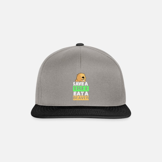 Save Caps & Hats - Beaver Ambiguous wood tree dam badger Otter - Snapback Cap graphite/black