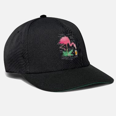 Pink Flamingo Shirt Topical Holiday Summer Beer - Snapback Cap
