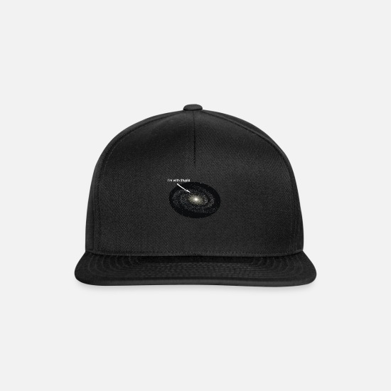 Starry Sky Caps & Hats - I Am With Stupid Galaxy Astronomer Planet Universe - Snapback Cap black/black