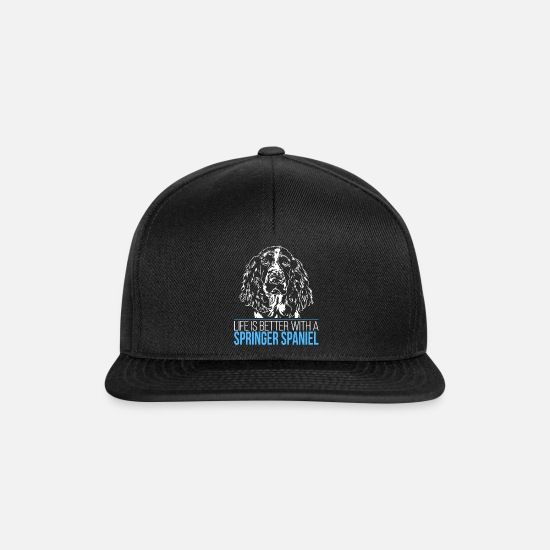 Dog Owner Caps & Hats - SPRINGER SPANIEL life is better - Snapback Cap black/black