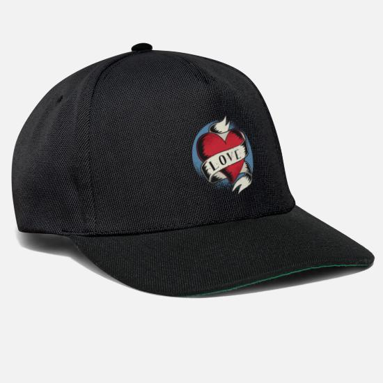 Love Caps & Hats - Love Romance Heart Cupid Saint Valentines Tattoo - Snapback Cap black/black