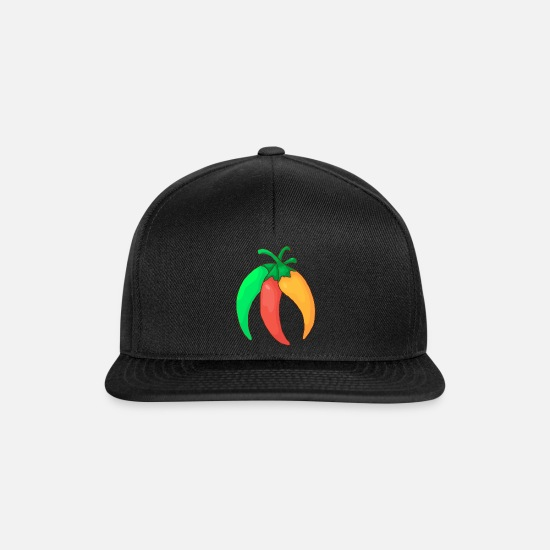 Red Caps & Hats - Green red yellow chilli pepper hot pepper vegetables - Snapback Cap black/black