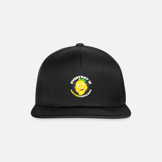 Gift Idea Caps & Hats - Mangonificent | Mango Word Game Veggie Gift - Snapback Cap black/black