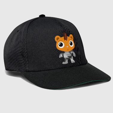 Little bear in camouflage suit and mohawk cartoon - Snapback Cap