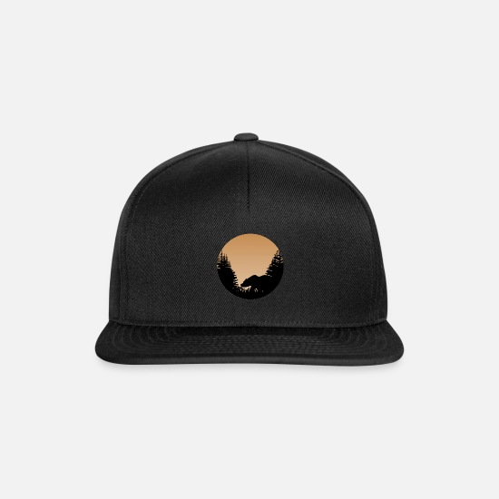 Forest Animal Caps & Hats - Bear landscape picture forest animal illustration - Snapback Cap black/black