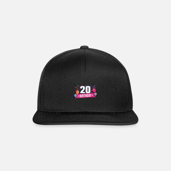 Birthday Caps & Hats - 20th Birthday Party Balloons Banner Gift Idea - Snapback Cap black/black