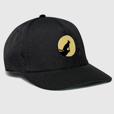 moon sun evening night cliff round circle wolf howling - Snapback Cap
