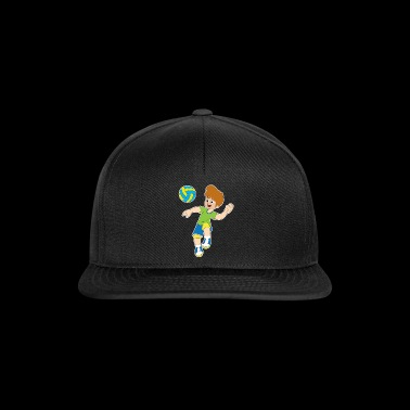 happy volleyball player cartoon gift idea - Snapback Cap