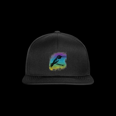 Subtle Hummingbird in front of colorful background - Snapback Cap