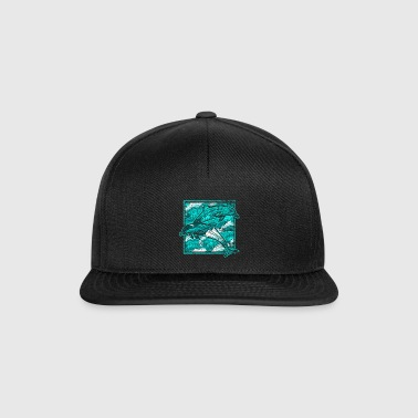 Dolphin whale sea creatures sea beach swimming - Snapback Cap