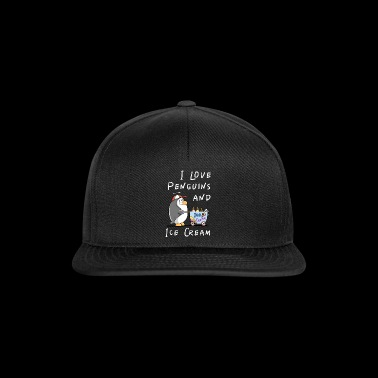 I Love Penguins And Ice Cream - Pinguin Eis Comic - Snapback Cap