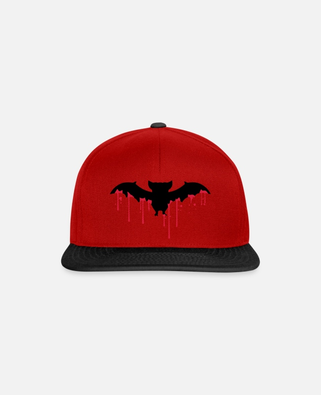 Blood Splatter Caps & Hats - blood drops wet graffiti silouette flying fled - Snapback Cap red/black