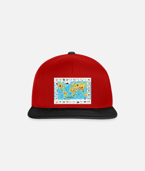 Alphabet Caps & Hats - World map of animals - Snapback Cap red/black