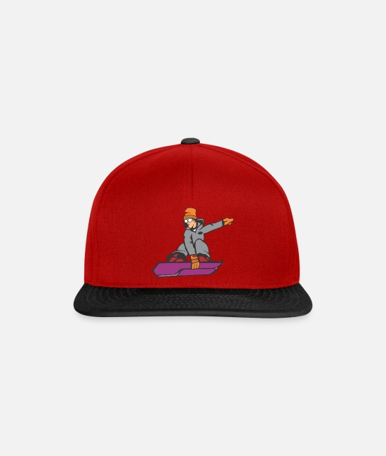 Party Caps & Hats - Cool sunglasses comic snowboard - Snapback Cap red/black