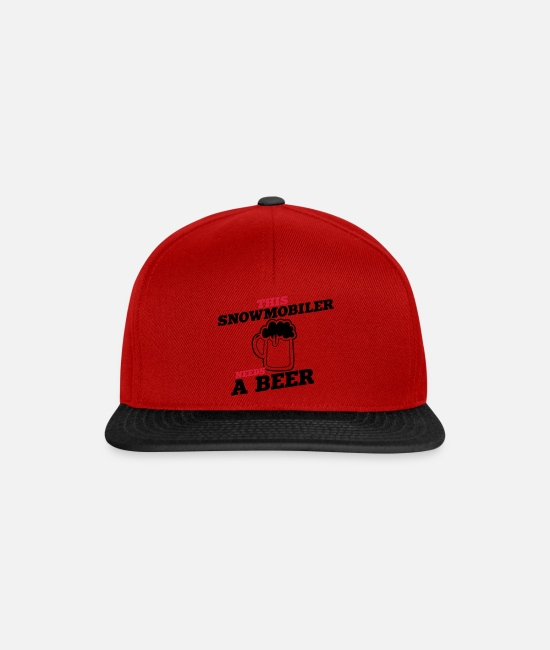 Super Dad Caps & Hats - this snowmobiler needs a beer - Snapback Cap red/black