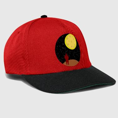 man stairing at moon - Snapback Cap