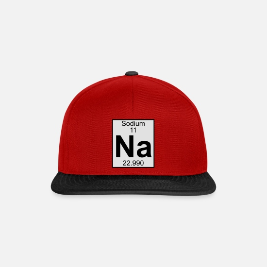 Geek Capser & luer - Elements 11 - na (sodium) - Full (white) - Snapback cap rød/svart