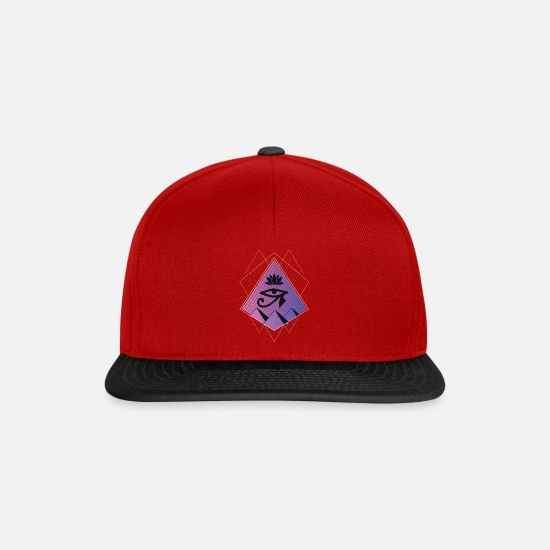 Egyptian Caps & Hats - Egyptian geometry Eye of the pharaoh purple color - Snapback Cap red/black