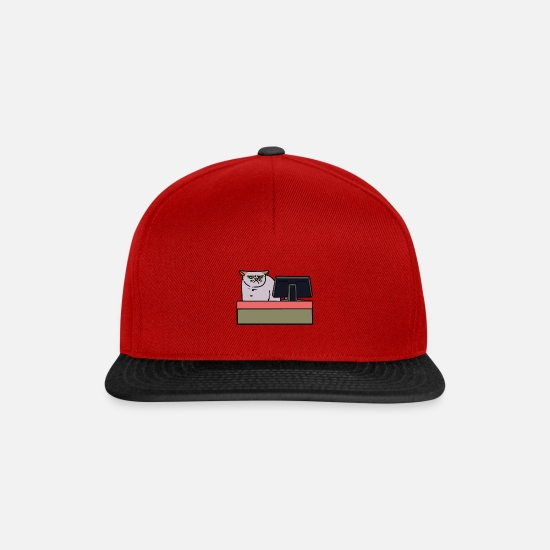 Gift Idea Caps & Hats - Cat Demotivates Monday in the office work area - Snapback Cap red/black