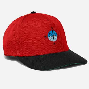 Esquí Skiing, skis, mountains and compass with degrees - Gorra snapback