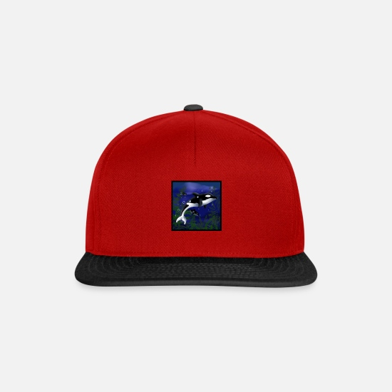 Wale Caps & Hats - Orcas killer whale - Snapback Cap red/black
