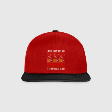 Funny Christmas Ugly Sweater Happy New Beer - Snapback Cap