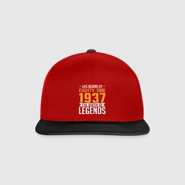 1937 81 81th Birthday years Legends gift - Snapback Cap