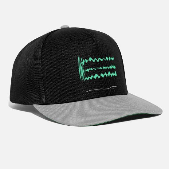Waves Caps & Hats - Stick Figure Design Pattern, Green Waves Amplify - Snapback Cap black/grey