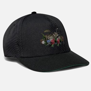 Steam Engine Impressive steam engine with flowers - Snapback Cap