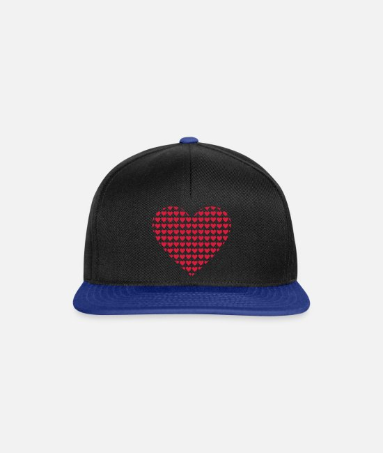 Heart Caps & Hats - hearts heart - Snapback Cap black/bright royal