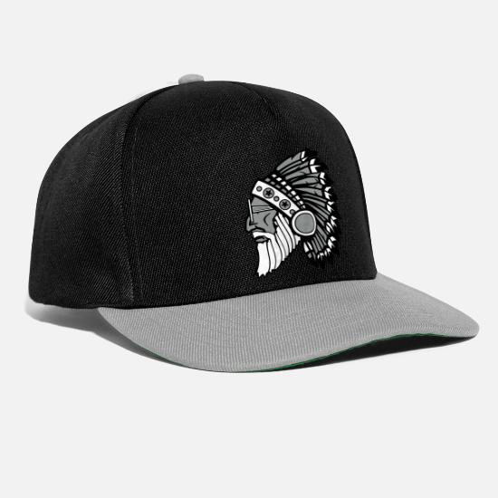 Beard Caps & Hats - beard indian 2 - Snapback Cap black/grey