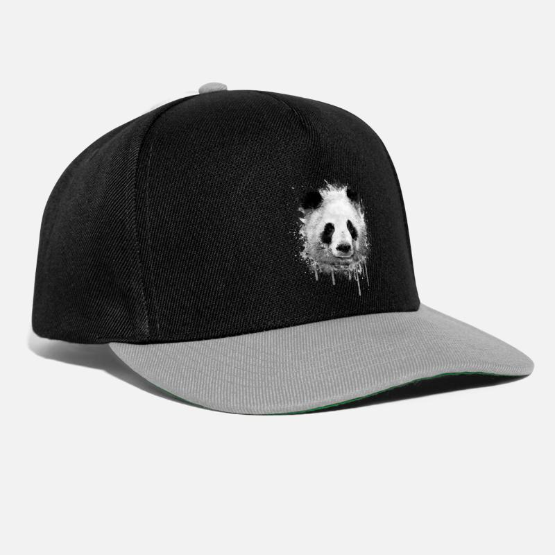 Panda Caps & Hats - Cool Artistic Panda Portrait ( watercolor design) - Snapback Cap black/grey