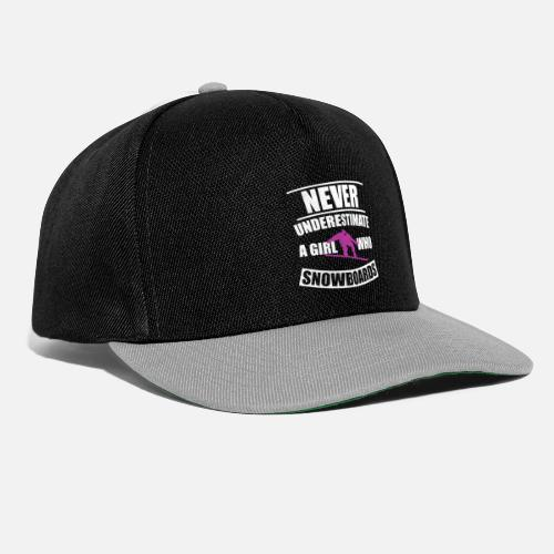 8d5d1ae383a never underestimate a girl s love snowboard - Snapback Cap. Front