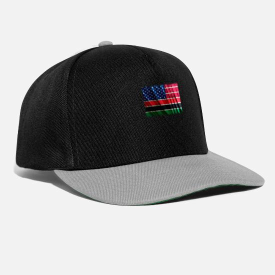 African American Caps & Hats - African American Flag Pan African Flag Wave Retro - Snapback Cap black/grey