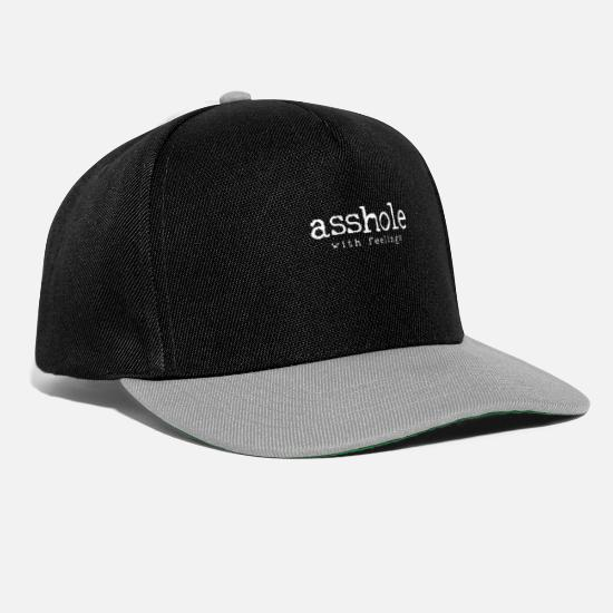 With Caps & Hats - Asshole with feelings - Snapback Cap black/grey