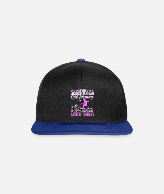 Profession Caps & Hats - Old Woman Who Loves Water Skiing - Snapback Cap black/bright royal