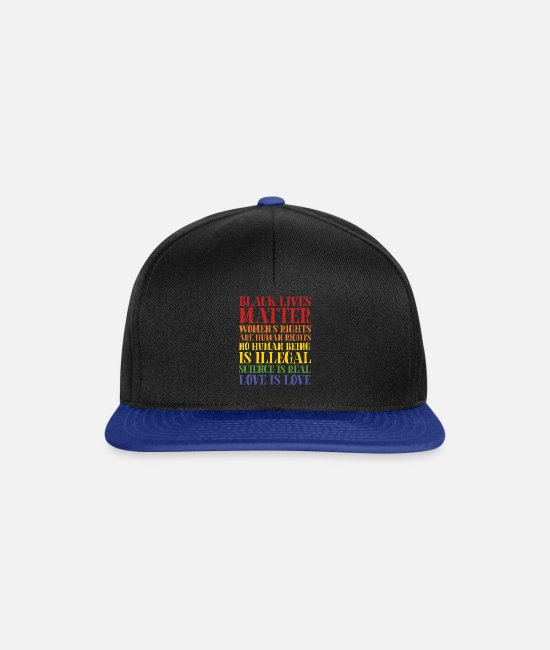 Marriage Equality Caps & Hats - Black Lives Matter Equality - Snapback Cap black/bright royal