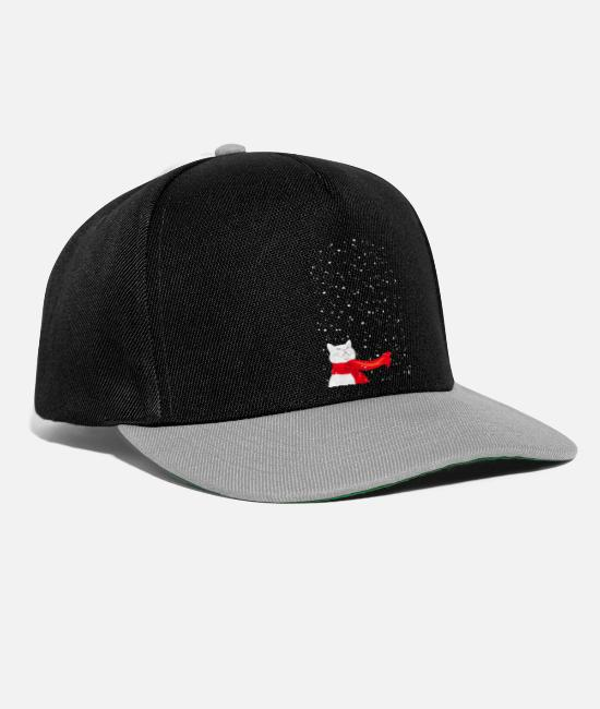 Cat Lady Caps & Hats - White Snowcat - Cat in Snowfall with a red scarf - Snapback Cap black/grey