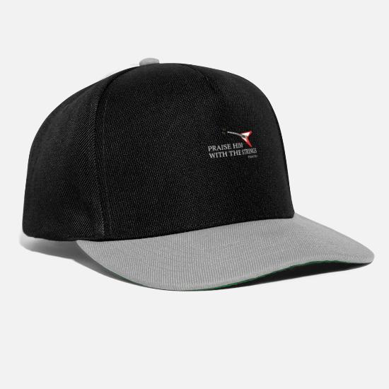 Church Caps & Hats - Electric Guitar Church Band Gospel Musician Bible Verse - Snapback Cap black/grey