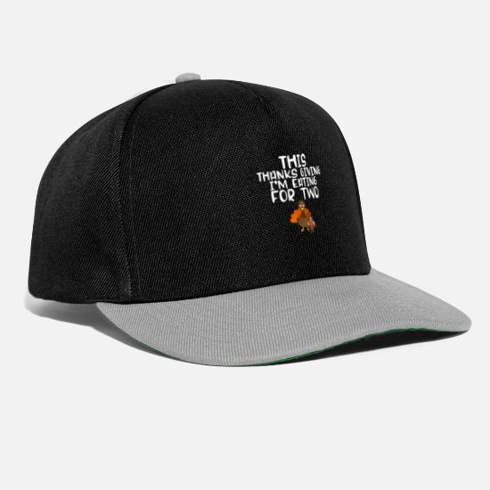 Thankful Caps & Hats - Thanksgiving Eating For Two Pregnancy Accouncement - Snapback Cap black/grey