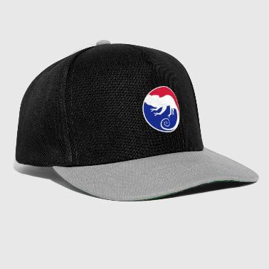 Black Light sport red blue circle round logo silhouette silhouette s - Snapback Cap