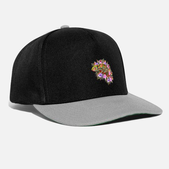 Animal Rights Activists Caps & Hats - Chameleon flowers animals - Snapback Cap black/grey